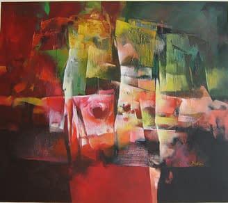 Vibrazioni cromatiche in rosso, Tecnica mista su tela, 90×80